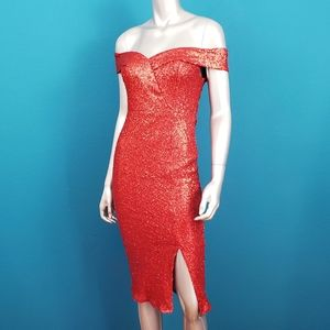 OUTRAGEOUS FORTUNE 1950's Sequin Midi Dress / NWOT